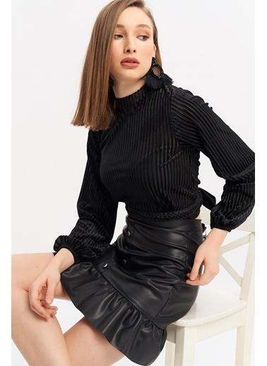 ESQ Sırt Dekolte Bluz Siyah